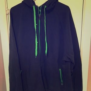 Navy blue hoodie with green details